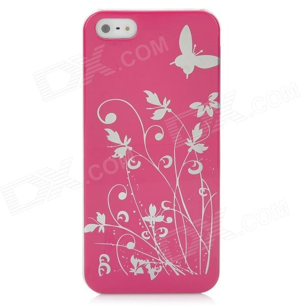 Butterfly Pattern Protective PC Plastic Case for Iphone 5 - Deep Pink + Silver virgo pattern protective abs pc hard back case w rhinestone for iphone 5 deep pink white