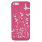 Butterfly Pattern Protective PC Plastic Case for Iphone 5 - Deep Pink + Silver