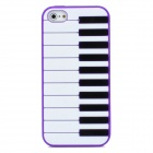 Piano Style Protective Silicone Back Case for Iphone 5 - Purple + White + Black