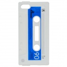 Cassette Tape Style Protective Silicone Back Case for iPod Touch 5 - White + Blue