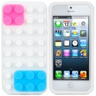 Protective Silicone Case for iPhone 5 - White + Pink