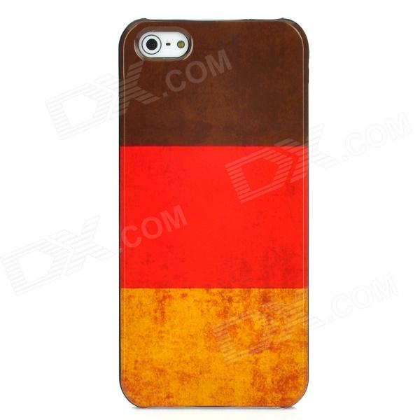 Germany National Flag Pattern Protective Plastic Case for Iphone 5 - Brown + Red + Yellow owl pattern protective plastic back case for iphone 5 blue red brown