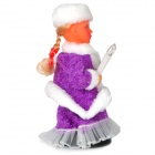 Cute Electronic Plastic / Velvet Santa Girl Toy w/ Russian - Purple + White (2 x AA)