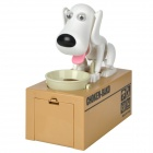 Cute Dog Shaped Eating Coin Piggy Bank - White + Black + Khaki (2 x AA)