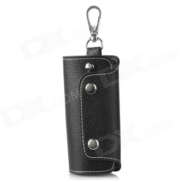CT004 Universal Genuine Leather Protective Pouch Keychain for Car Smart Key - Black