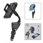 Adjustable Universal 360 degree Rotation Mount Holder with Dual USB Car Charger - Black