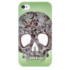 Skull Pattern Protective Plastic Case for iPhone 4 / 4S - Green + Black