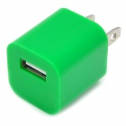 """ZY-1000 """"1000mA"""" USB Power Adapter / Charger for iPhone / iPod - Green (2-Flat-Pin Plug / 110~240V)"""
