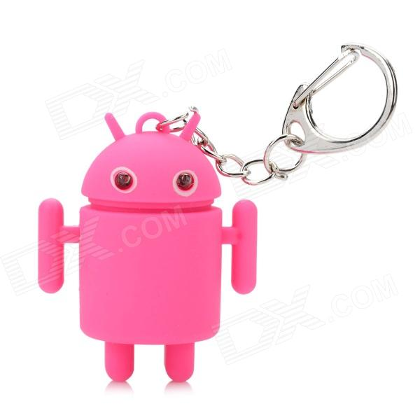 Cute Android Robot Style Keychain w/ 2-Blue LEDs / Sound Effect - Pink (2 x AG3) sport car style 2 led white light flashlight keychain w sound effect red 4 x lr41