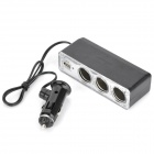 1-to-3 Car Cigarette Lighter Sockets Power Adapter Splitter with USB - Black + Silver