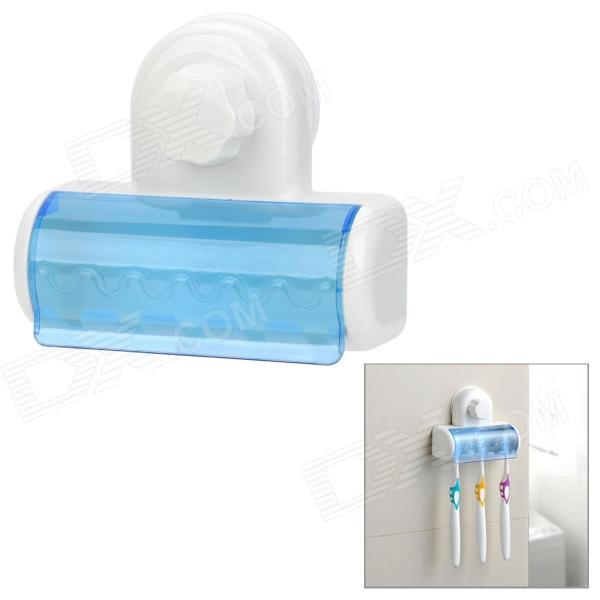 Wall Mount Toothbrush Holder w/ Suction Cup - Blue + White allen roth brinkley handsome oil rubbed bronze metal toothbrush holder