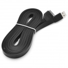 Extra Long USB Sync Data / Charging Flat Cable for iPhone / iPad / iPod - Black (3M)