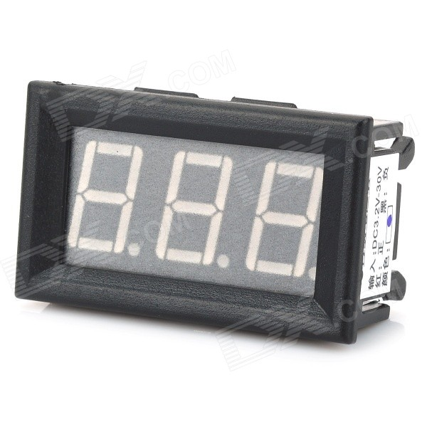 3-Digit Blue LED Digital Voltmeter Meter Module (DC 3.5~30V) 0 36 3 digit blue light 7 segment voltmeter module black green 3 2 30v