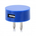 Universal USB Power Adapter Charger for Nokia / Samsung / Iphone - Dark Blue (2-Flat-Pin Plug)