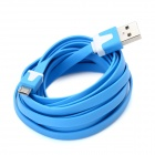 USB Male to Micro USB Male Flat Data / Charging Cable for Cell Phone - Blue (300cm)