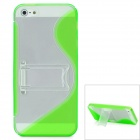 S-Line Shaped Protective Plastic Back case w/ Holder Stand - Fluorescent Green + Transparent