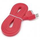 Extra Long USB Sync Data / Charging Flat Cable for iPhone / iPad / iPod - Red (3M)