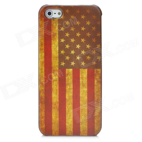 Protective Retro Flag of United States Pattern Back Case for Iphone 5 - Yellow + Red + Coffee holes pattern protective tpu back case for iphone 6 plus 5 5 yellow