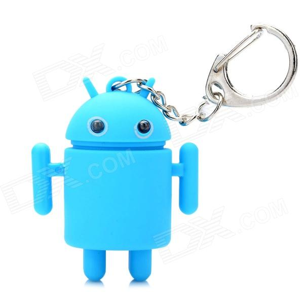 Cute Android Robot Style Keychain w/ 2-Blue LEDs / Sound Effect - Blue (2 x AG3) sport car style 2 led white light flashlight keychain w sound effect red 4 x lr41