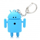 Cute Android Robot Style Keychain w/ 2-Blue LEDs / Sound Effect - Blue (2 x AG3)