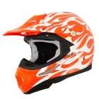 XHT Cool Flame Pattern Motorcycle Sports Racing Helmet - Orange + White (Size XXL)