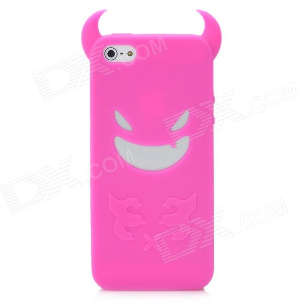 Devil Style Protective Silicone Back Case for Iphone 5 - Deep Pink stylish protective silicone back case for iphone 5c grey