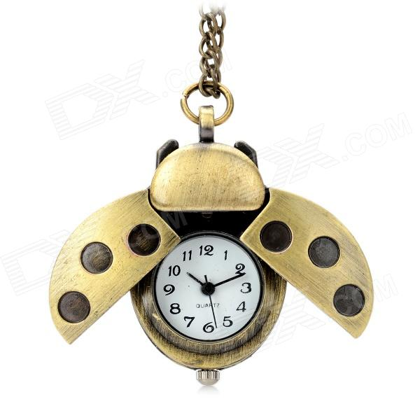 Vintage Ladybug Style Analog Quartz Necklace Watch - Golden + Bronze (1 x CR626) adjustable billet extendable folding brake clutch levers for triumph daytona 675 r 2011 2015 speed triple 1050 r 12 15 2013 2014