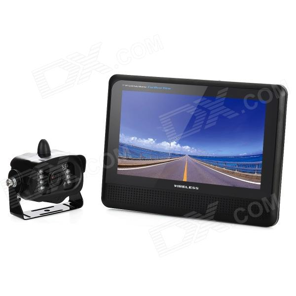 2-in-1 7 LCD Car Vehicle Rearview Mirror Monitor + 1.3MP Wireless Camera w/ 15 IR LED Set - Black 7 lcd rearview monitor w remote controller black pal ntsc