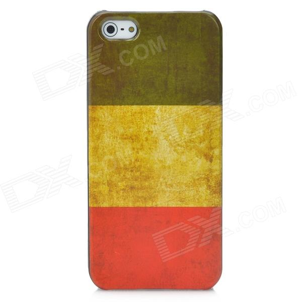 Protective Retro Flag of Italy Pattern Plastic Back Case for Iphone 5 - Yellow + Red + Blue harvest hunting