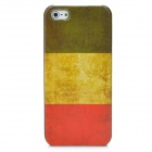Protective Retro Flag of Italy Pattern Plastic Back Case for Iphone 5 - Yellow + Red + Blue
