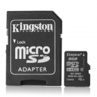 Kingston Micro SDHC / TF Memory Card w/ SD Adapter - Black (8GB / Class 10)
