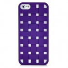 Cool Woven Hollow-out Grid Back Cover Case for Iphone 5 - Purple