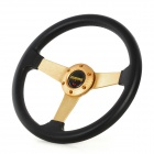 "Universal 13"" PU + Aluminum Car Steering Wheel Set - Black + Golden"