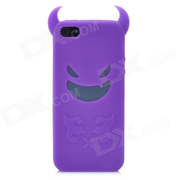 Devil Style Protective Silicone Back Case for Iphone 5 - Purple small holes style protective pe back case for htc one x s720e purple