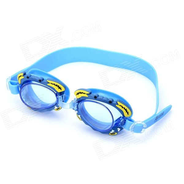 Cute Cartoon Style Swimming Goggle Glasses with Carrying Bag for Kids - Blue