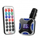 "0.9"" LCD Car MP3 Player FM Transmitter with Remote Controller - Blue + Black"