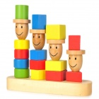 4 Different Height Person Style Wooden Block Building Toy - Multi-Color