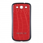 Replacement PU Leather Battery Back Cover Case for Samsung Galaxy S3 i9300 - Dark Red + Dark Blue