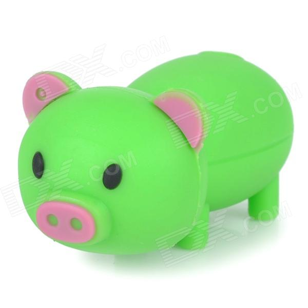 Cartoon Pig Style USB 2.0 Flash Drive - Green (4GB)