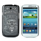 3D Skull with Hat Pattern Protective Plastic Back Case for Samsung i9300 - Black