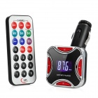 "0.9"" LCD Car MP3 Player FM Transmitter with Remote Controller - Red + Black"