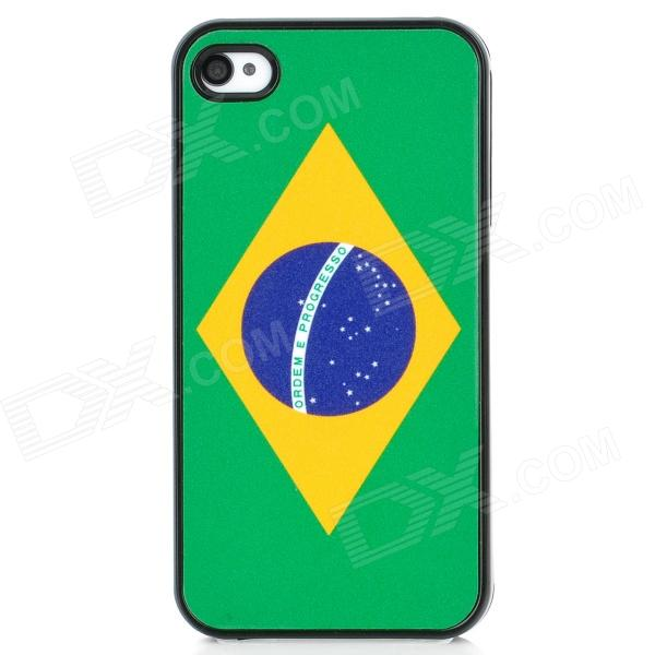 Brazil National Flag Pattern Protective Plastic Back Case for Iphone 4 / 4S - Green + Black retro the uk national flag pattern protective plastic back case for iphone 4 4s red white