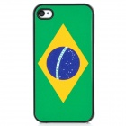 Brazil National Flag Pattern Protective Plastic Back Case for Iphone 4 / 4S - Green + Black
