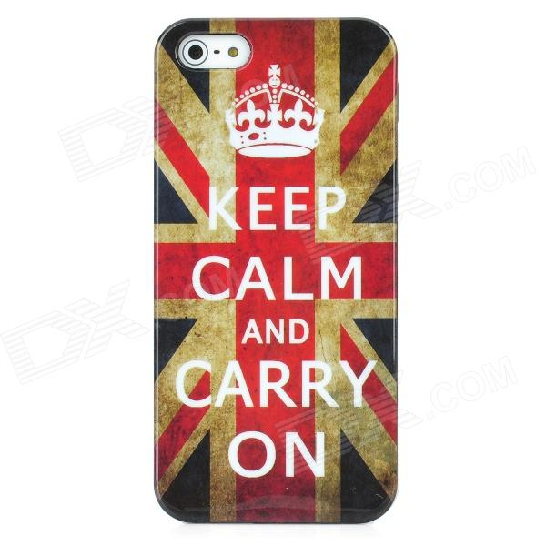 Keep Calm and Carry On UK National Flag Pattern Protective Plastic Case for Iphone 5 protective uk national flag pattern silicone case for iphone 5 black