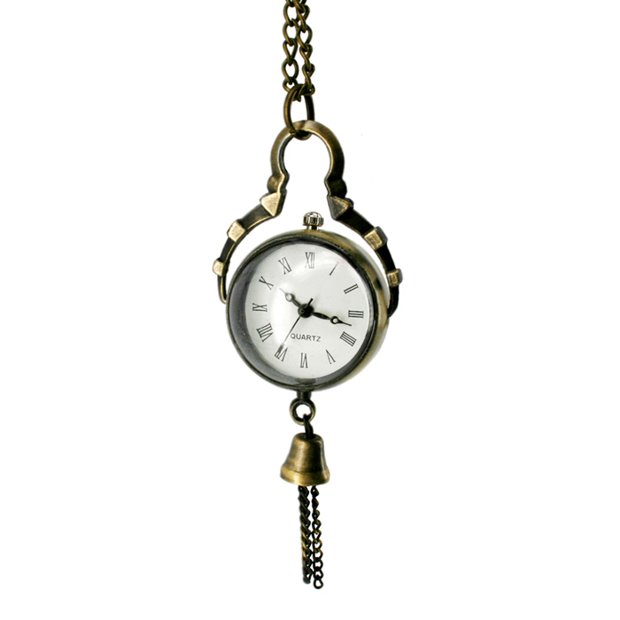 Retro Transparent Sphere Pendant Chain Necklace Quartz Watch - Bronze (80cm-Chain / 1 x LR626) cute owl pendant chain necklace dual dial quartz pocket watch bronze 80cm chain 1 x lr626