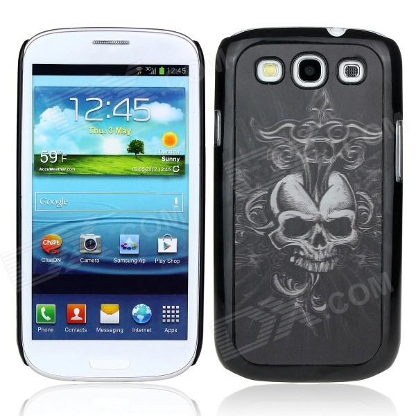 Vivid 3D Skull Pattern Protective Plastic Back Case for Samsung Galaxy S3 i9300 - Black kinston colorful flowers and butterflies pattern plastic protective case for samsung galaxy s3 i9300