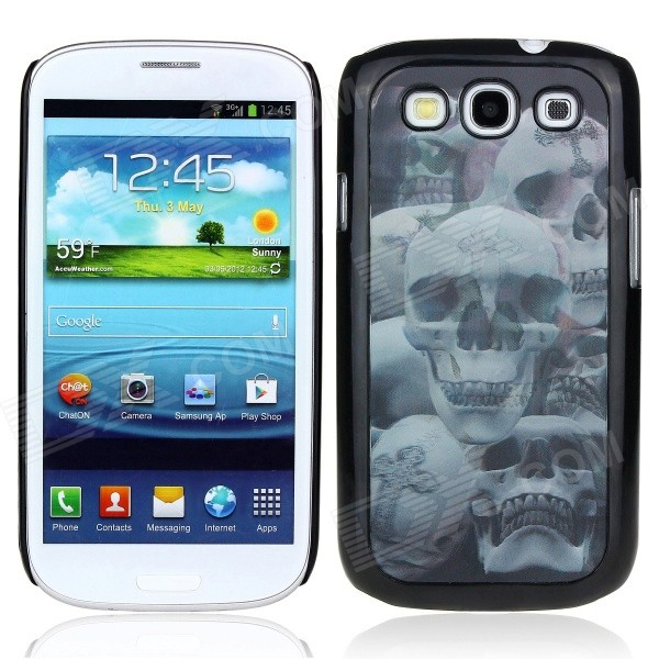 Vivid 3D Skulls Pattern Protective Plastic Back Case for Samsung Galaxy S3 i9300 - Black + Grey kinston colorful flowers and butterflies pattern plastic protective case for samsung galaxy s3 i9300