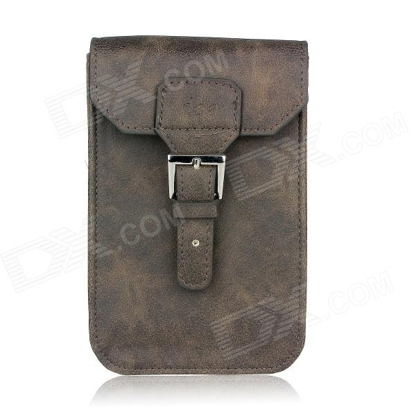 Stylish PU Leather Sleeve Pouch Case for Samsung Galaxy Note II / N7100 / HTC One X - Brown metal ring holder combo phone bag luxury shockproof case for samsung galaxy note 8