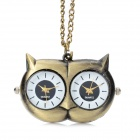Cute Owl Pendant Chain Necklace Dual Dial Plate Quartz Watch - Bronze (80cm-Chain / 1 x LR626)