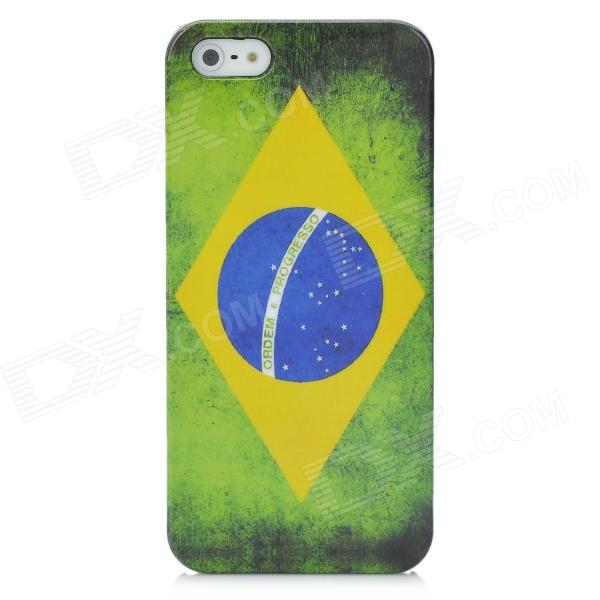 Brazil Flag Pattern Protective Plastic Back Case with SIM Adapter for Iphone 5 eiffel tower pattern protective back case sim card adapter for iphone 5 yellow pink green